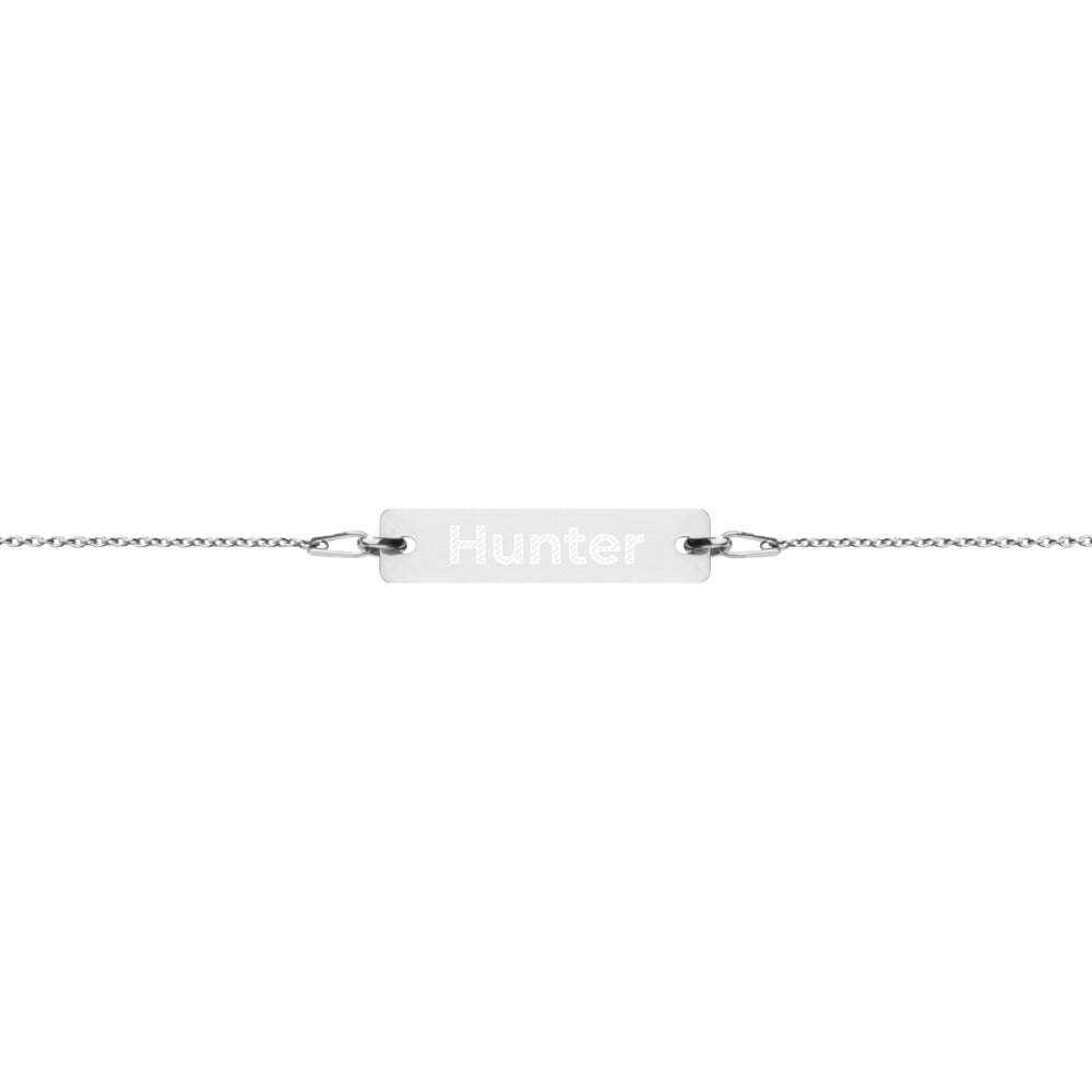 Hunter Engraved Silver Bar Chain Bracelet