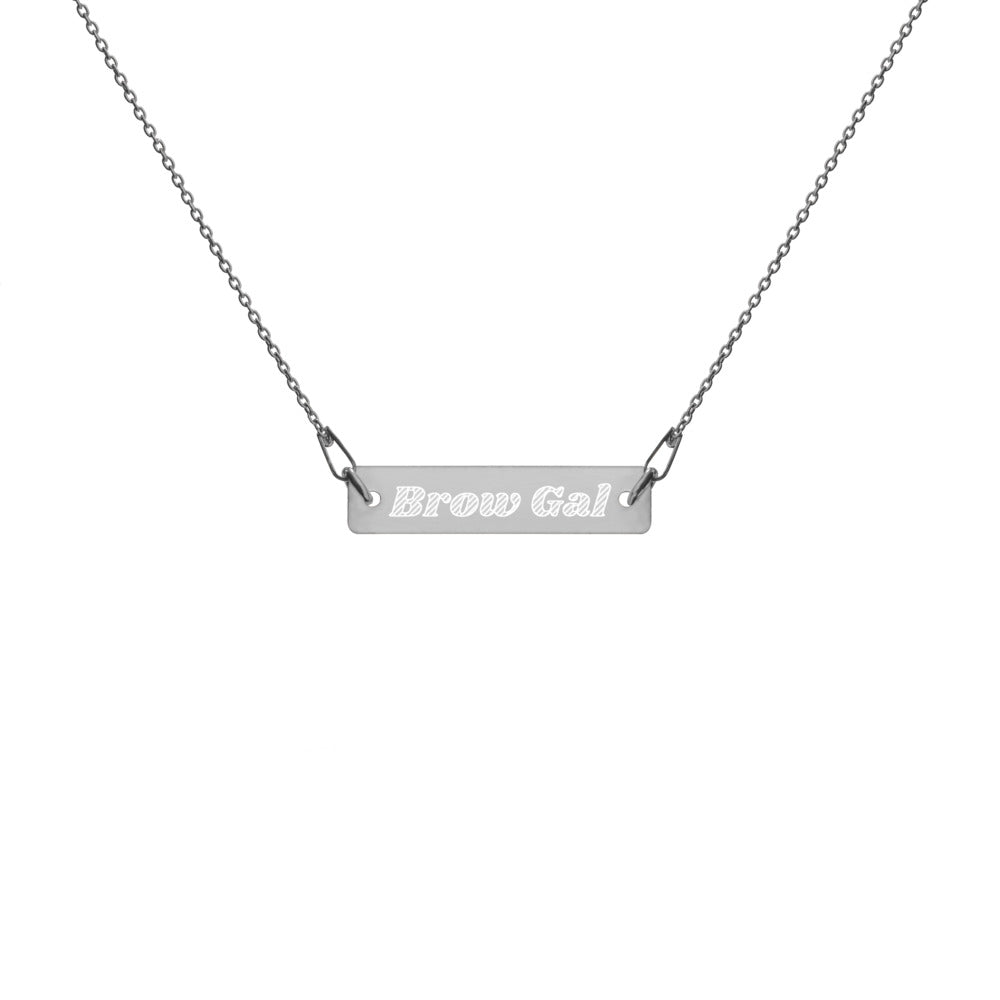 Brow Gal Engraved Silver Bar Chain Necklace