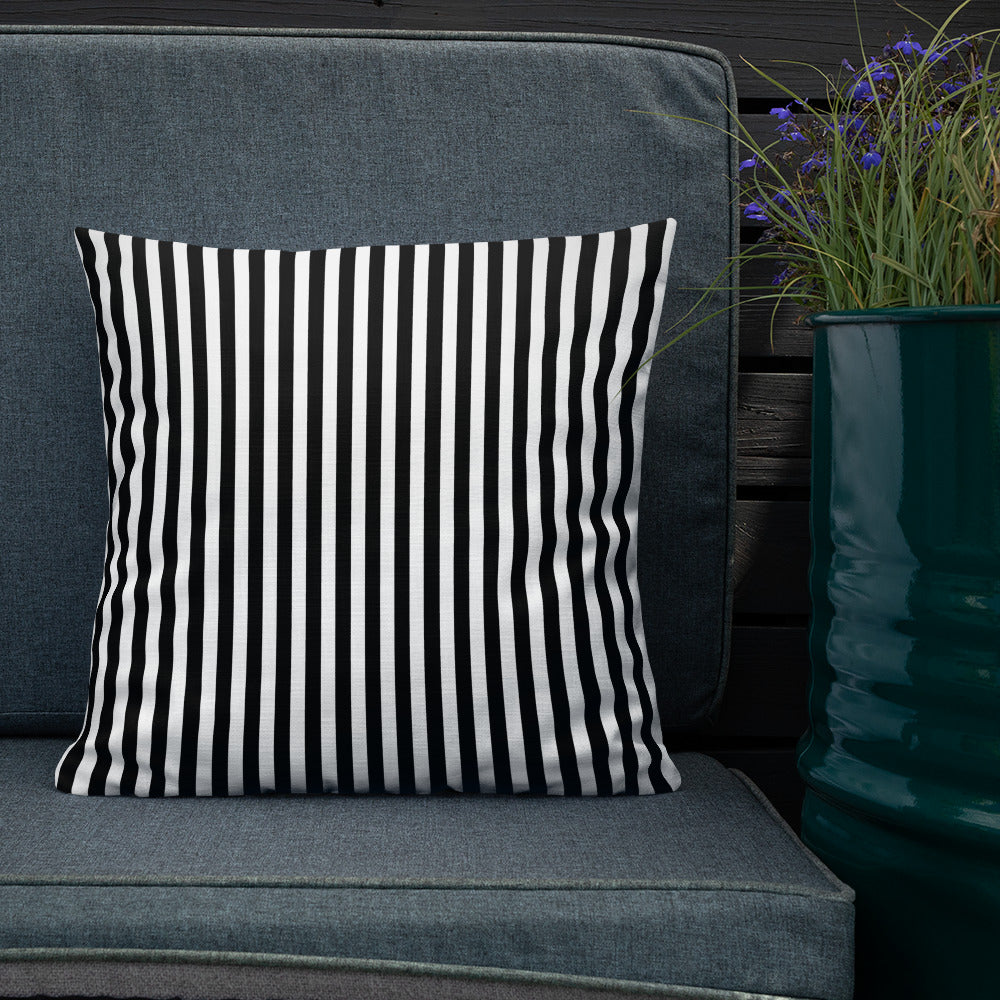 "Condensed Black and White Striped Throw Pillow, 18"" x 18"""