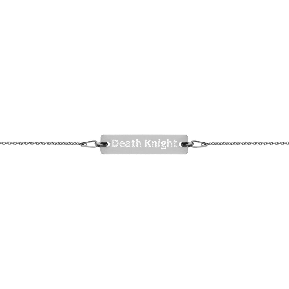 Death Knight Engraved Silver Bar Chain Bracelet