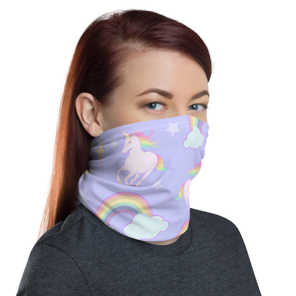 Lavender unicorns and rainbows print face and neck cover.
