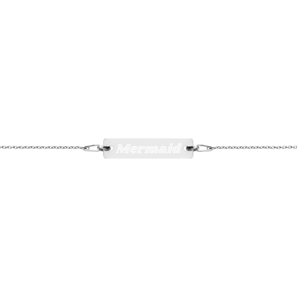 Mermaid Engraved Silver Bar Chain Bracelet
