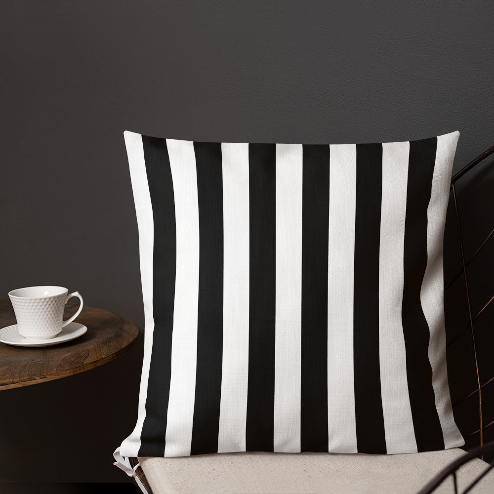 "Black & White Striped Throw Pillow, 18"" x 18"""