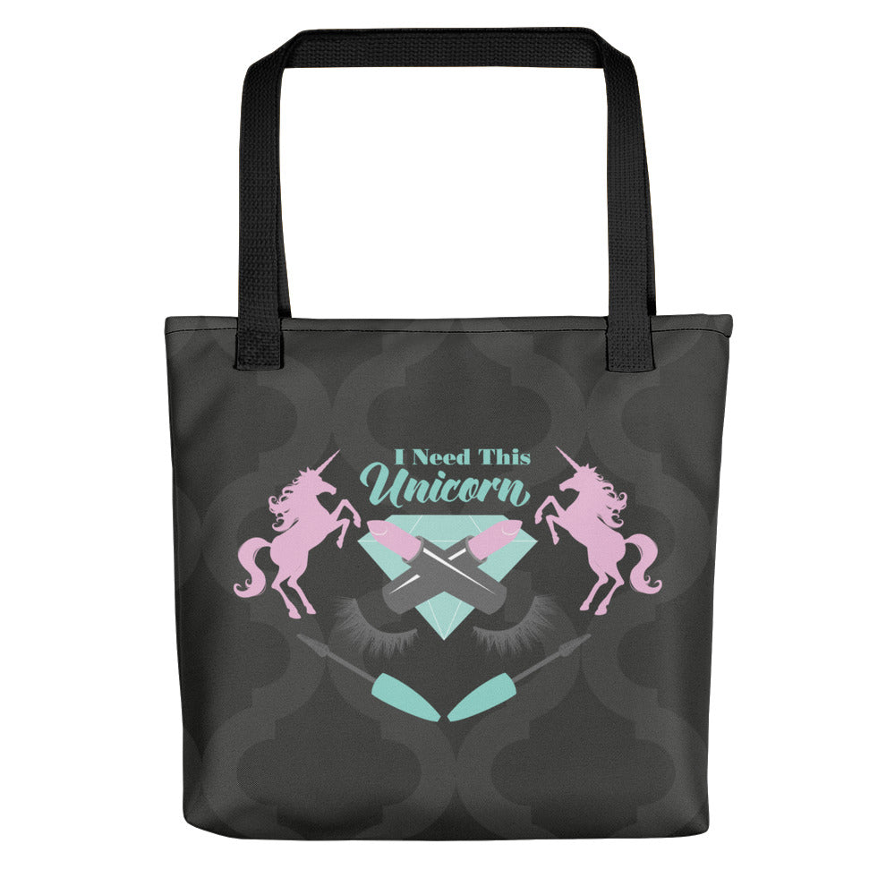 I Need This Unicorn Beauty Emblem Black Tote Bag