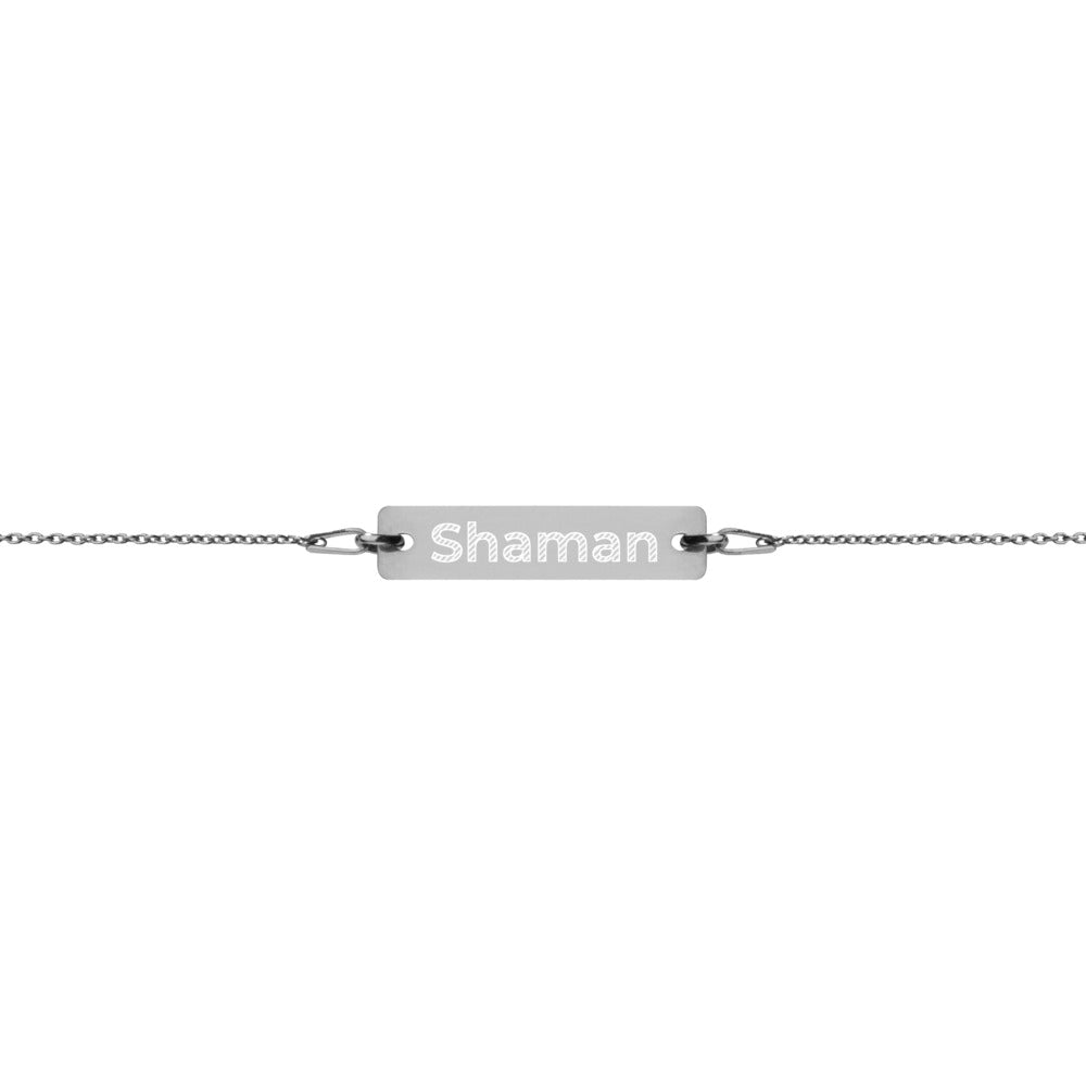 Shaman Engraved Silver Bar Chain Bracelet