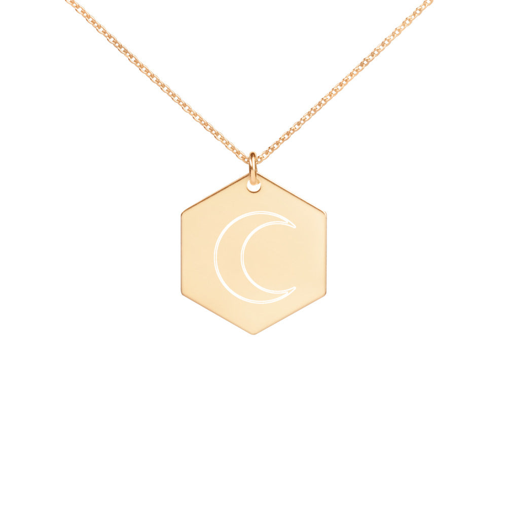 Selene Engraved Silver Hexagon Necklace