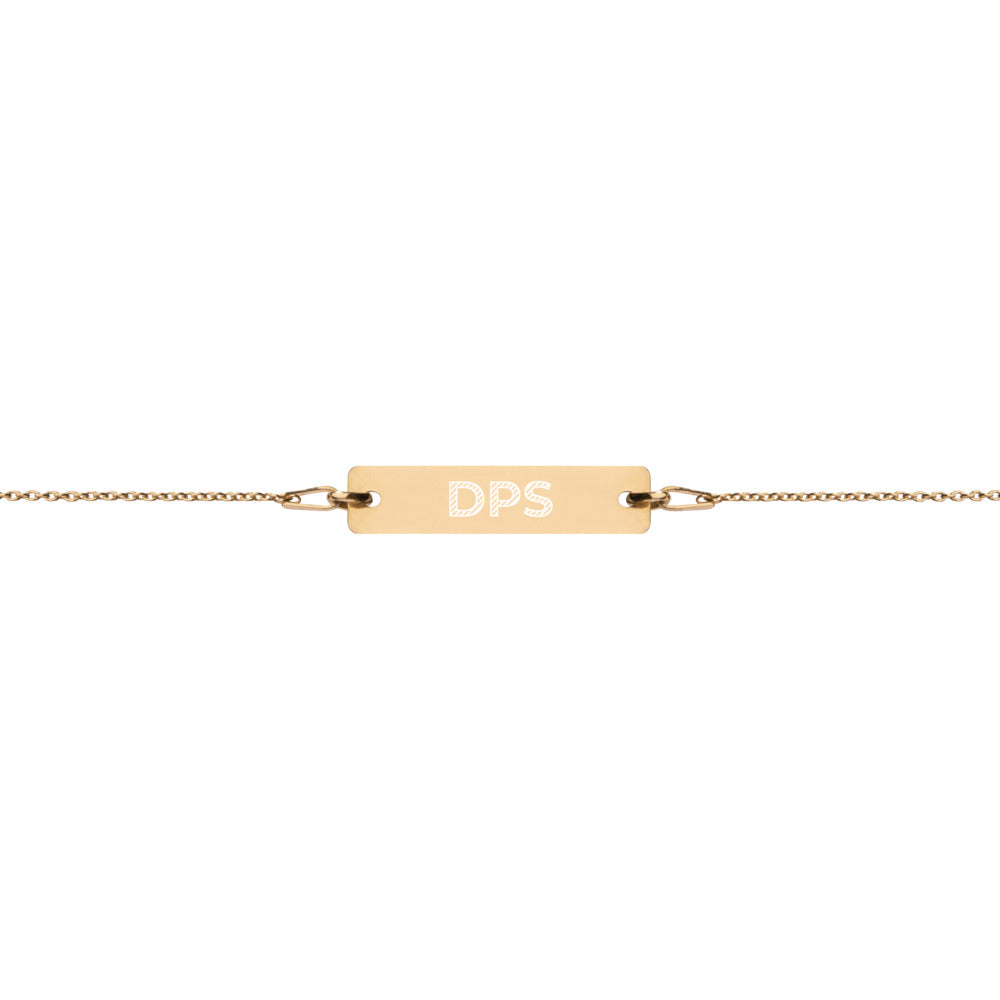 DPS Engraved Silver Bar Chain Bracelet