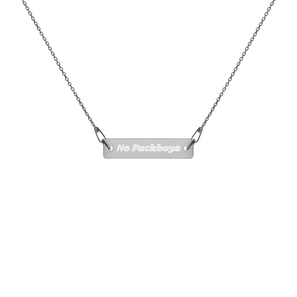 No Fuckboys Engraved Silver Bar Chain Necklace