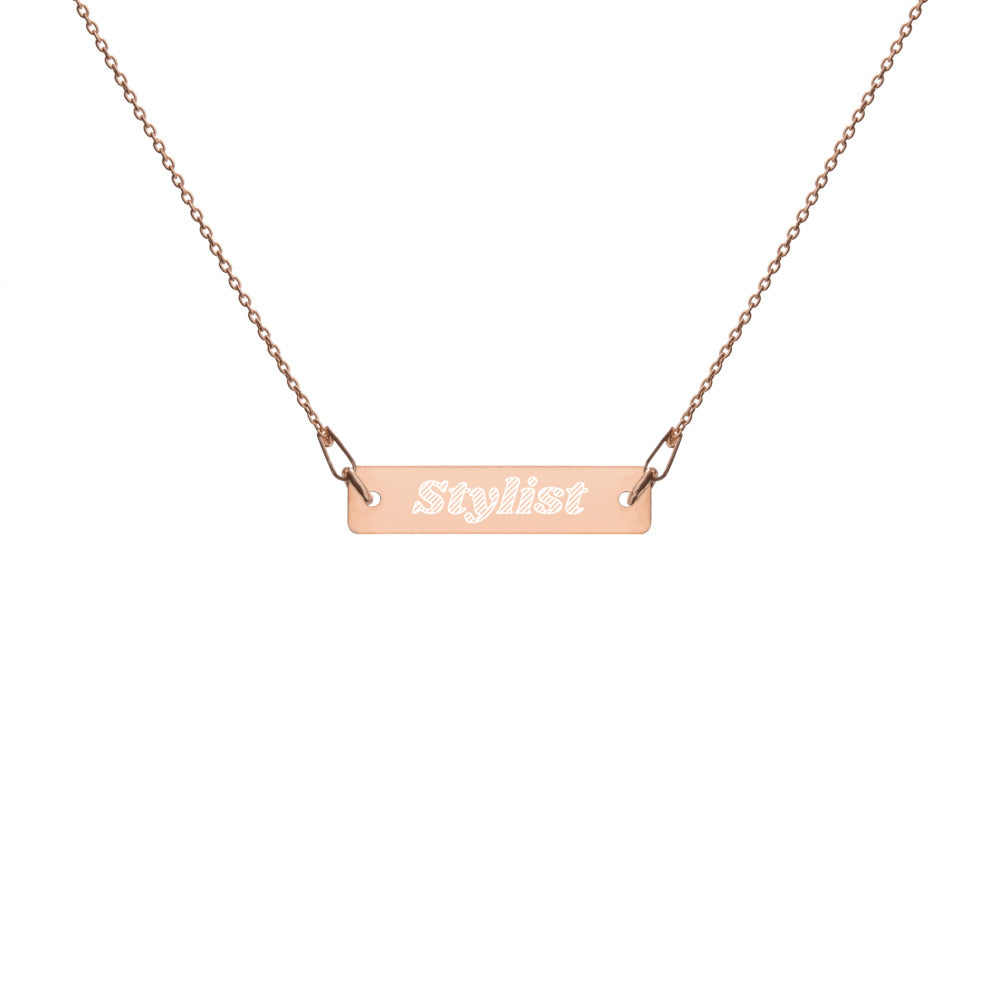Stylist Engraved Bar Chain Necklace