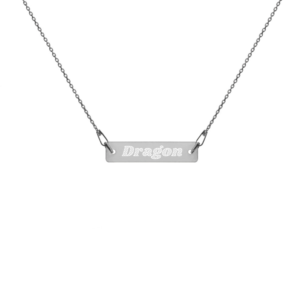 Dragon Engraved Silver Bar Chain Necklace