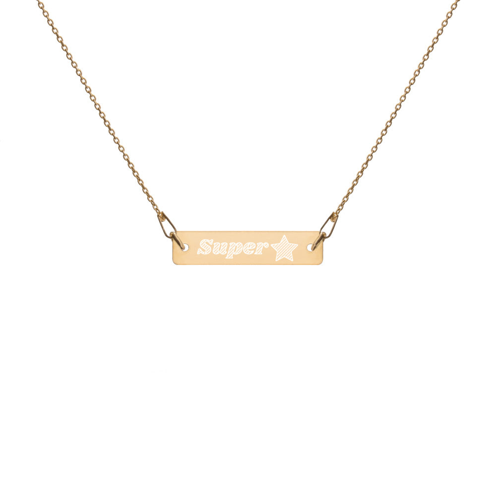 Super Star Engraved Silver Bar Chain Necklace