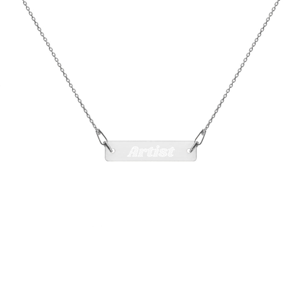 Artist Engraved Silver Bar Chain Necklace