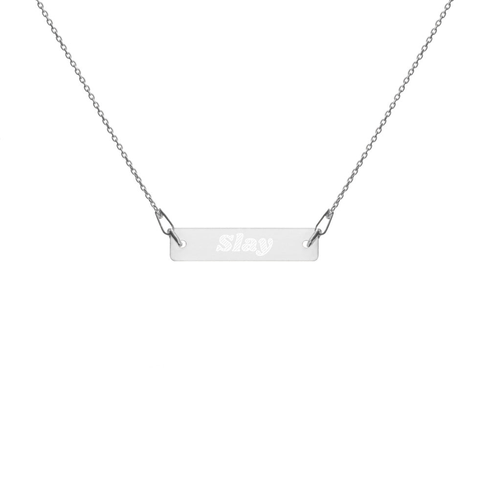 Slay Engraved Silver Bar Chain Necklace