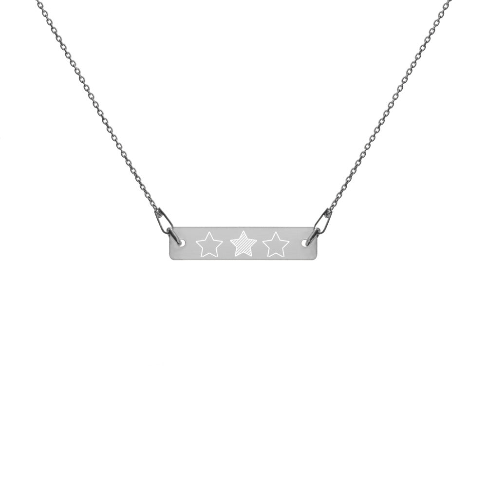 Trio of Stars Engraved Silver Bar Chain Necklace