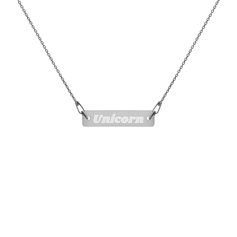 Unicorn Engraved Silver Bar Chain Necklace