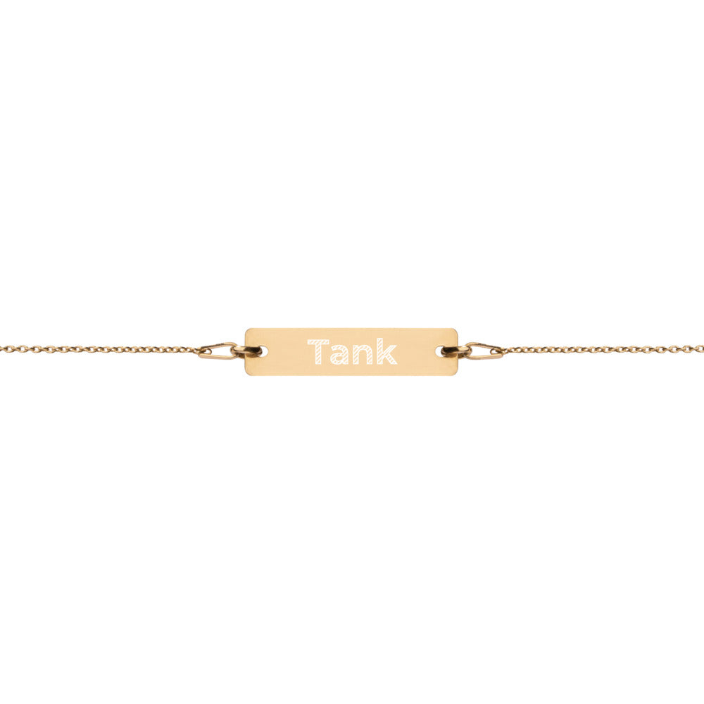 Tank Engraved Silver Bar Chain Bracelet