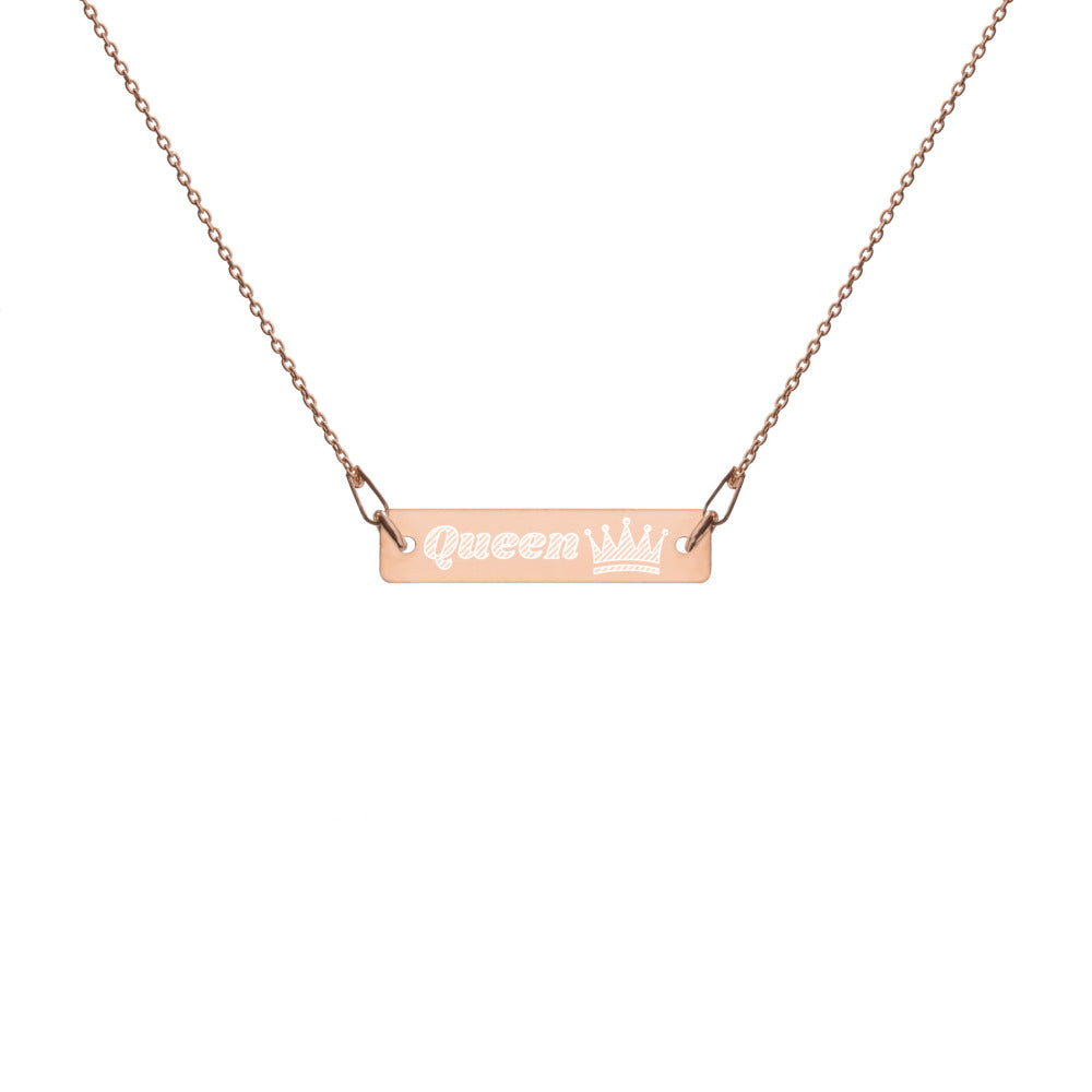 Queen Engraved Silver Bar Chain Necklace