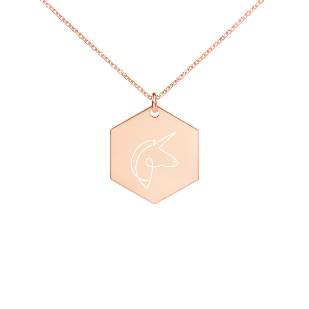 Unicorn Engraved Hexagon Necklace