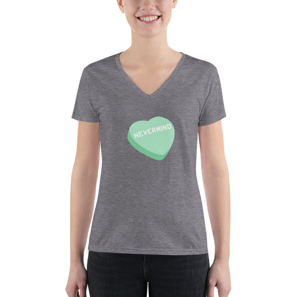 Nevermind Candy Heart Women's V-Neck T-shirt