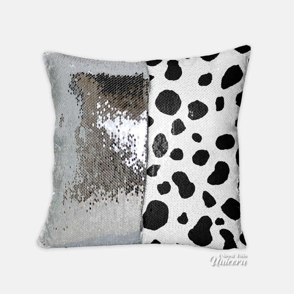 "Dalmatian Reversible Sequin Throw Pillow Case, 15.5"" x 15.5"""