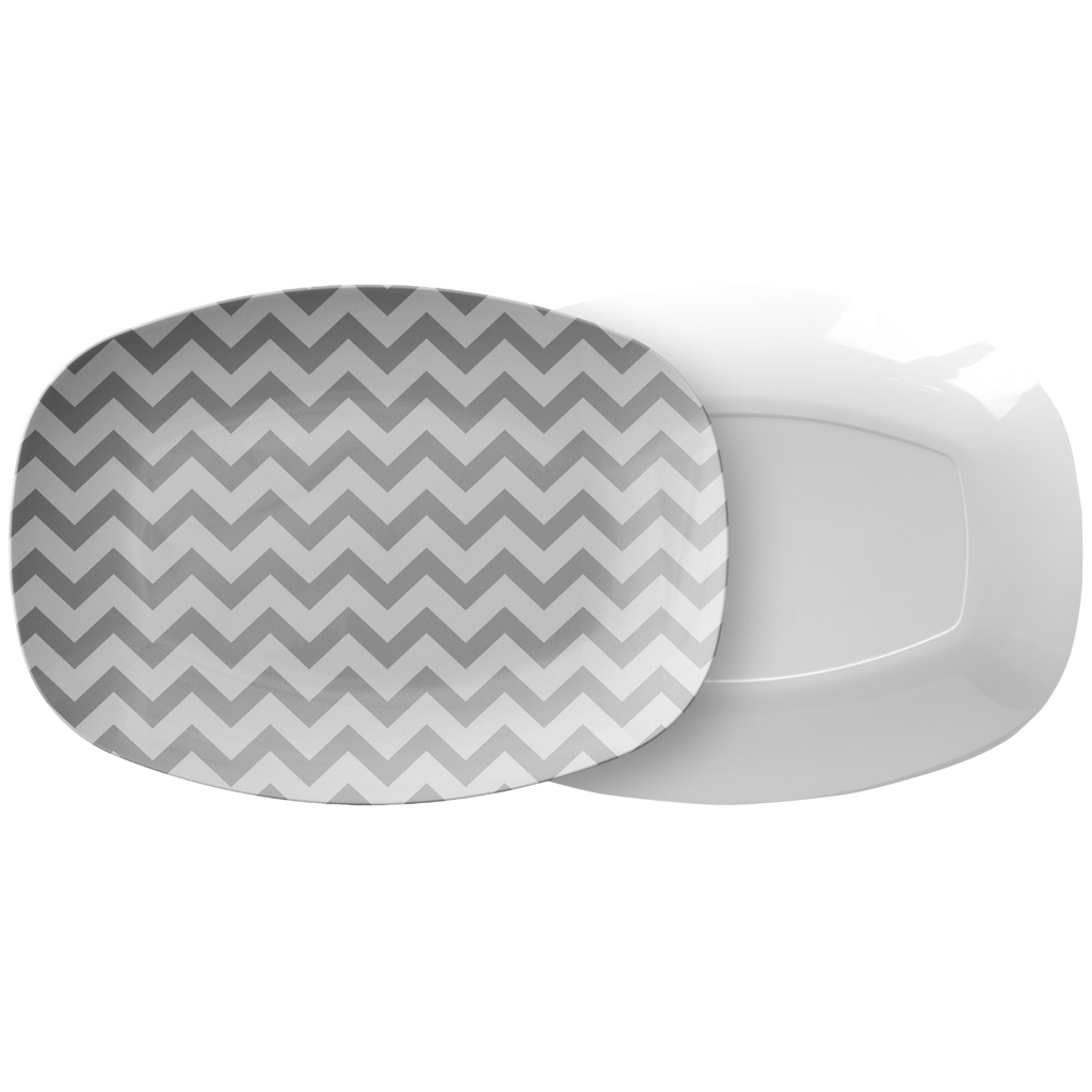 Gray and White Chevron Serving Platter