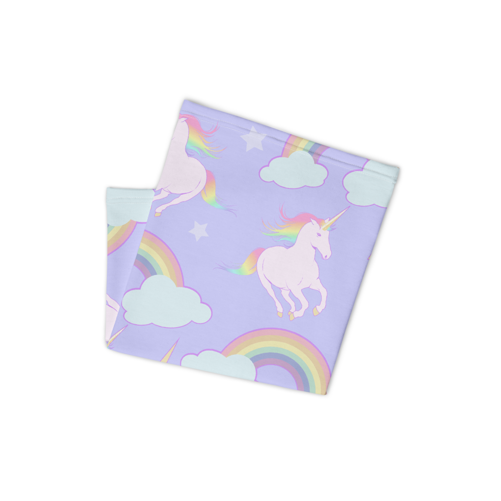 Lavender unicorns and rainbows print face and neck cover. Photo of product folded.