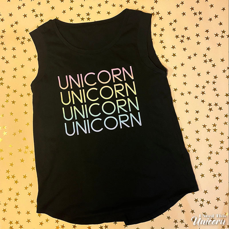 Unicorn x 4 black muscle tank top