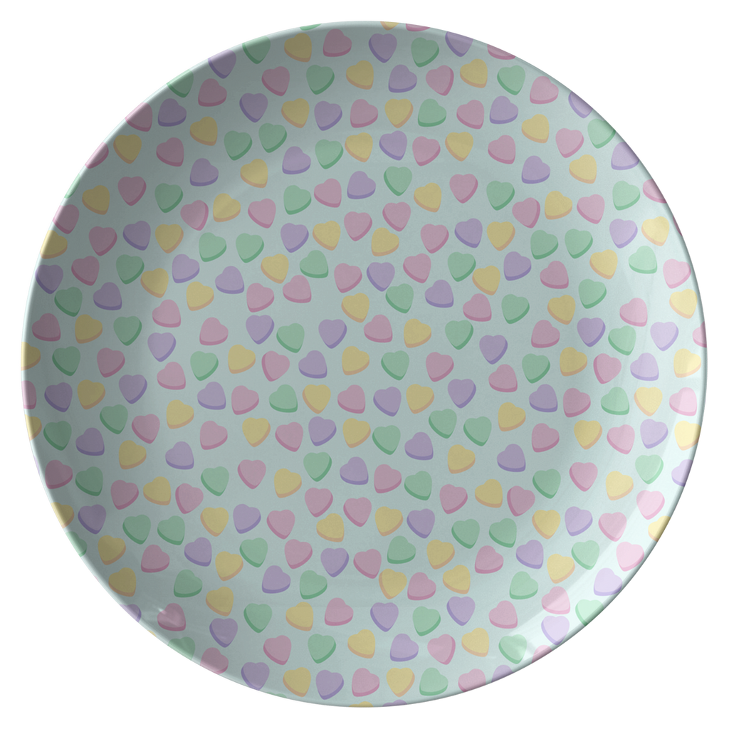 Candy Hearts Sky Blue Party Plate
