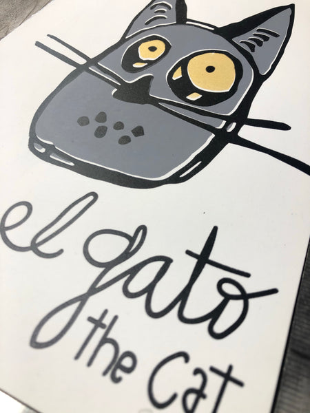 Gray Cat Screenprint