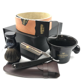 "The 1470 Black Resin 5/8"" Deluxe Straight Razor Set"