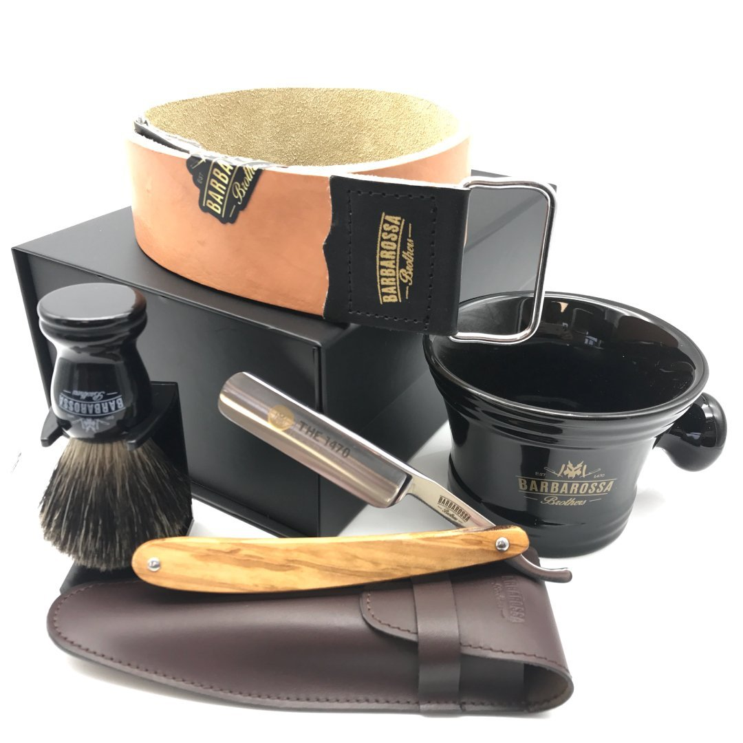 "The 1470 Ebony Wood 5/8"" Deluxe Straight Razor Set (1671531200573)"