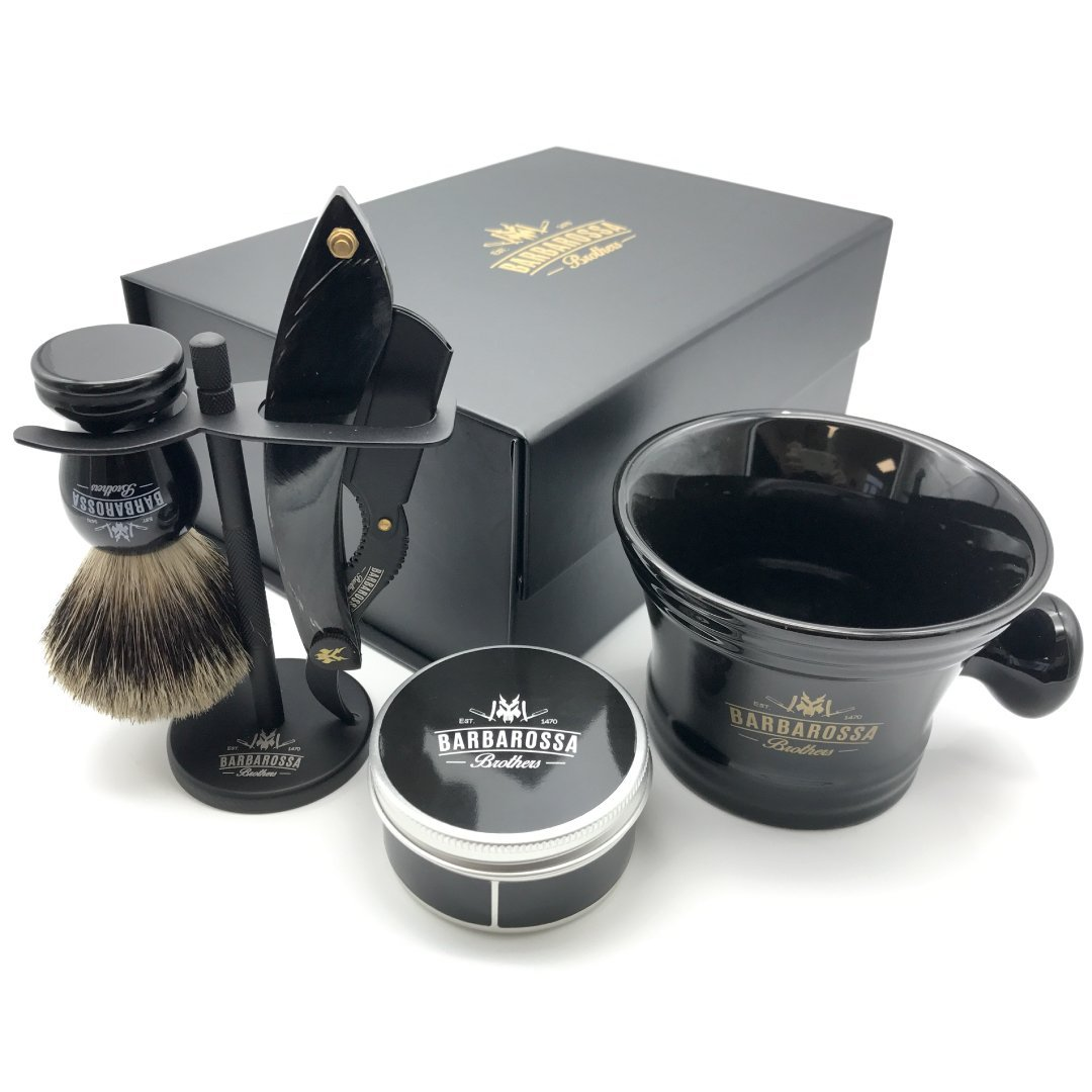 The Cutlass Buffalo Black Deluxe Shavette Set (1668417880125)