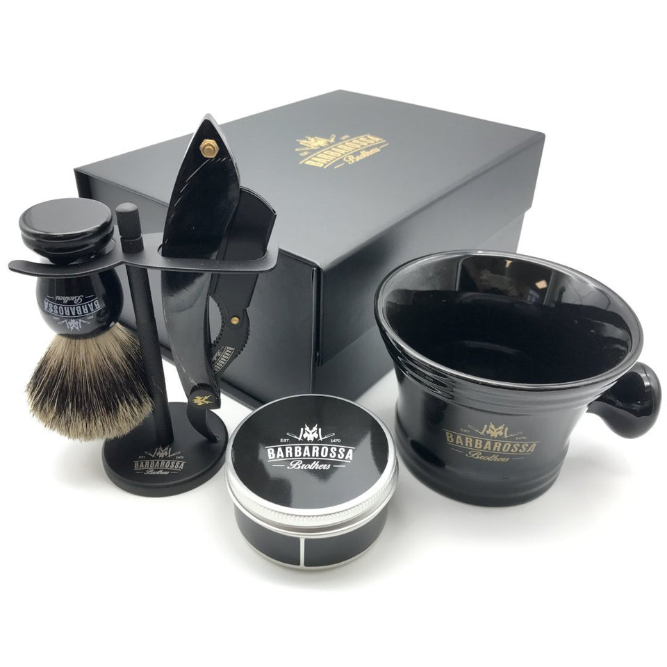 The Cutlass Buffalo Black Deluxe Shavette Set
