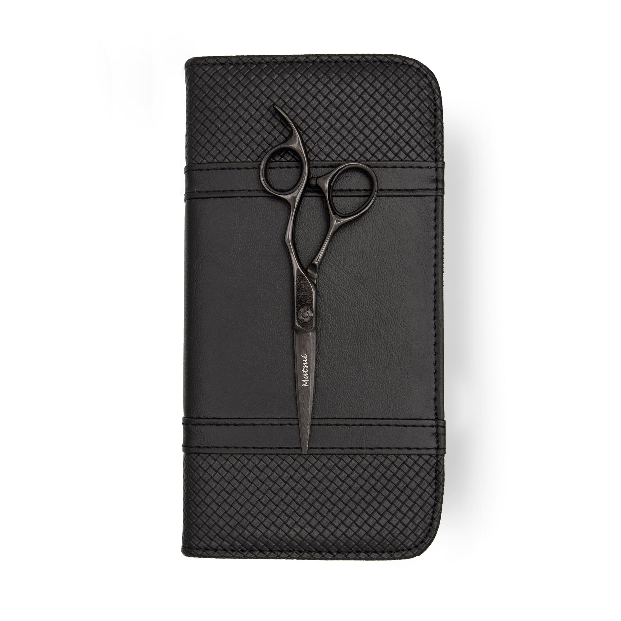 2020 Matsui Matte Black Damascus Offset Scissors (1828549001277)