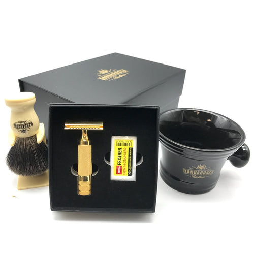 The Ottoman Deluxe Double Edge Razor Set - 24K Gold