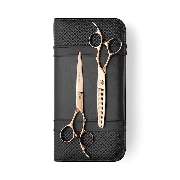 Matsui Rose Gold VG10 Limited Edition Offset Scissor Thinner Combo (1406164664381)