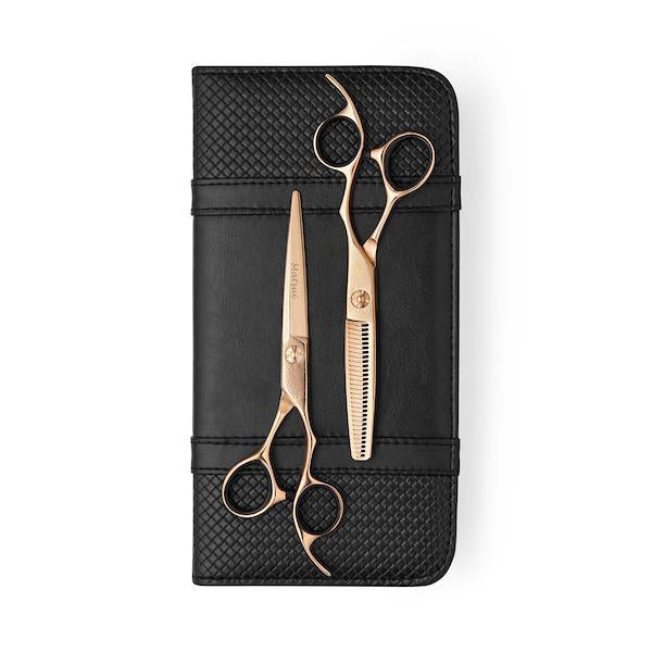 2019 Rose Gold Damascus Offset Scissor Thinner Combo (1828750884925)