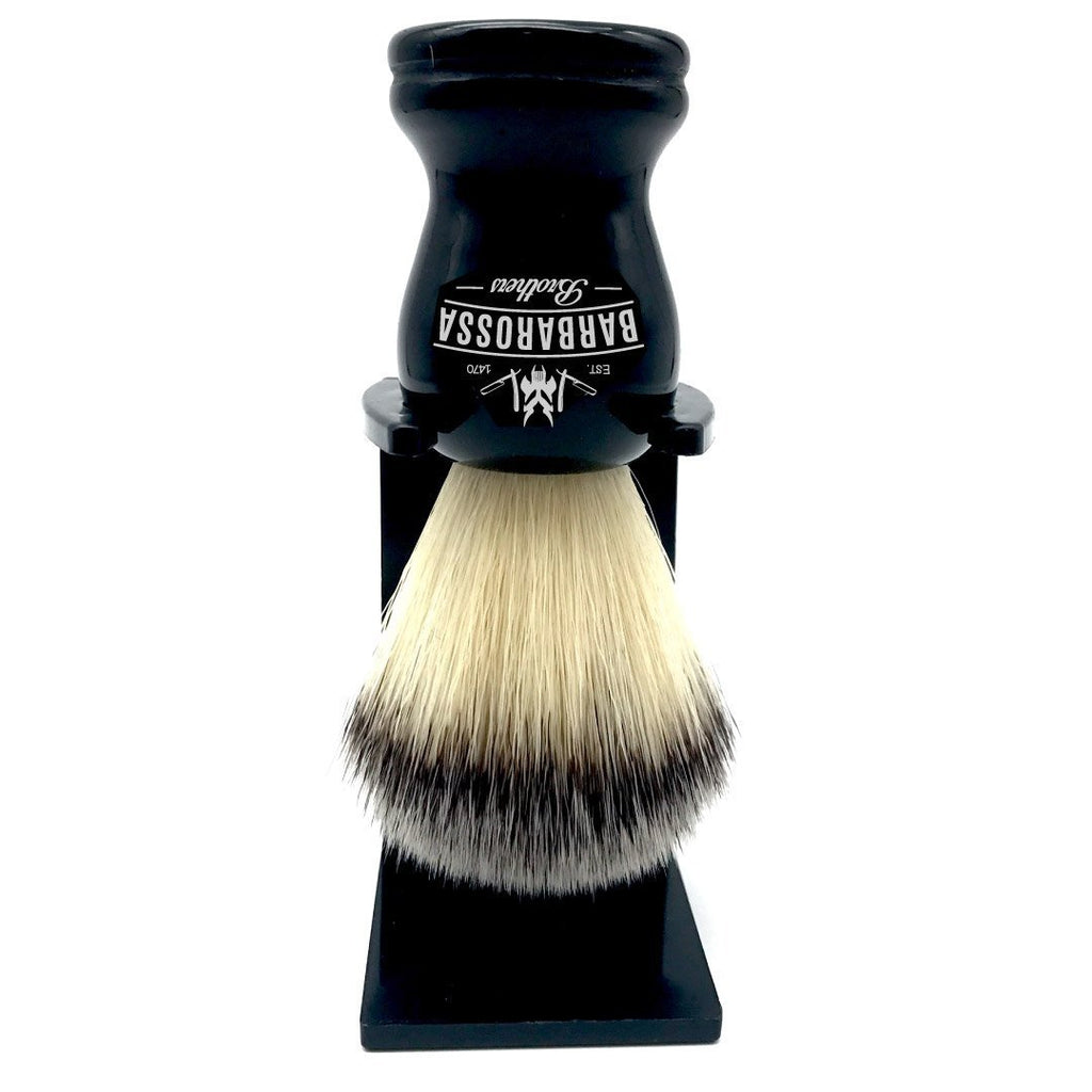 Shaving Brush Black Synthetic w/ stand