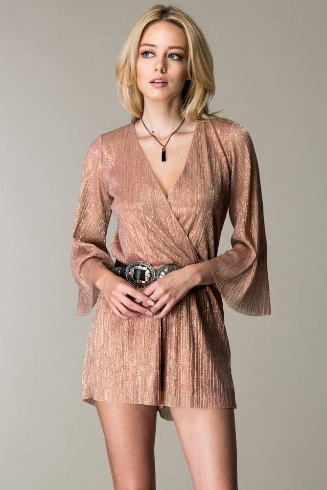 Pleated Rose Gold Romper