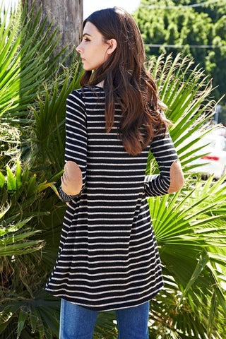 Black Stripe Patchwork Tunic
