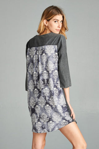 Washed Denim Print Dress