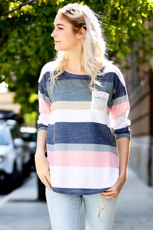 Lace Pocket Stripe Top