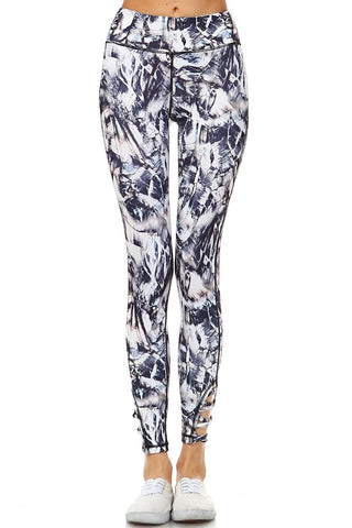 Grey Floral Workout Pants