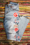 Embroidered Floral Denim