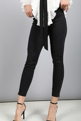 Black Moto Zip Jegging