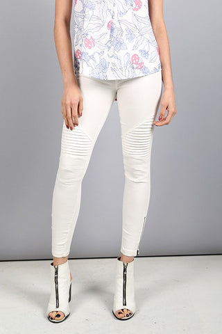 Cream Moto Zip Jegging