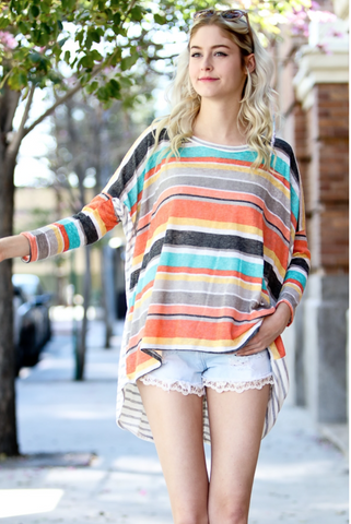 Stripe Coral Oversized Top