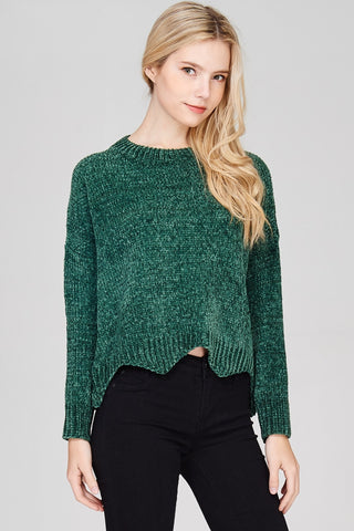 Wave Hem Chenille Sweater