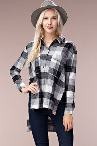 High-Low Plaid Top