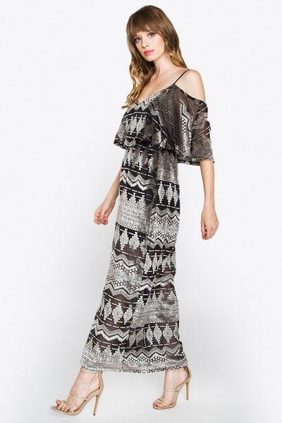 Tribal Print Velvet Long Dress